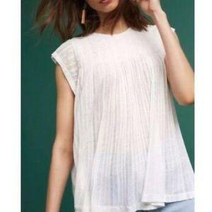 Anthropologie white flowy blouse top